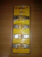 4 adaptateurs USB lumineux à LED - A/A Male - Femelle - NEUF SOUS BLISTER