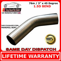 76mm x 45 Degree Mandrel Exhaust Bend T409 Stainless Steel 1.5D 1.5mm Wall
