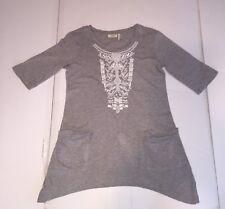 LOGO by Lori Goldstein Women's Beaded Tunic Top with Pockets 3/4 Sleeve XXS Gray