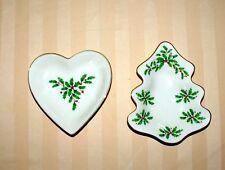 """Lenox Holiday Tree Dish & Heart Dish Set Small 5"""" New No Box"""
