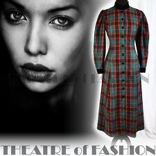 VINTAGE LAURA ASHLEY COAT DRESS TARTAN RIDING 12 10 8 VICTORIAN VAMP EDWARDIAN