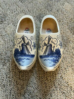 Size 34 Dutch Wood Shoes Holland CLOGS Hand Painted Windmill Ornament
