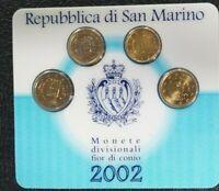 REPUBBLICA SAN MARINO SERIE EURO 4 VALORI 2002 UFFICIALE ZECCA  PRIMA EMISSIONE