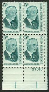 #1235 5c Cordell Hull, Plate Block [27616 LR], Mint **ANY 4=FREE SHIPPING**