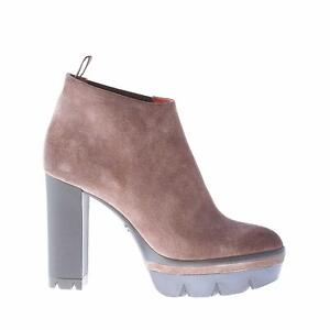 SANTONI women shoes Mud brown suede ankle boot with stretch inset and platform