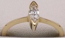 18CT YELLOW GOLD SOLITAIRE MARQUISE CUT DIAMOND ENGAGEMENT/DRESS RING - $2124.00