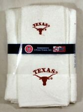 Texas Longhorns Logo 3 Pc White Embroidered Bath Towel Gift Set Free Us Ship