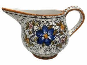 Deruta Italian Water Pitcher Flowers Yellow Trim 48 Ounce Ceramic Pottery