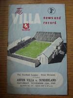12/11/1949 Aston Villa v Sunderland  (folded, worn on fold, creased, rusty stapl