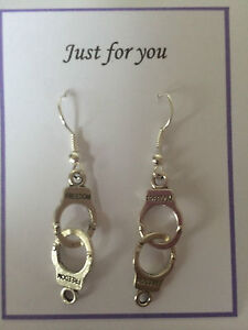 TIBETAN SILVER HANDCUFF EARRINGS  POLICE GOTHIC PUNK  50 SHADES, GIFT