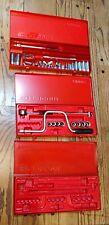 "Vintage ALL Facom 3/8"" Drive Ratchet Socket Set J151 Various Tools 3 Metal Case"