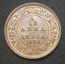 1936 BRITISH INDIA 1/12 ANNA UNC HIGH GRADE KING GEORGE V RED BROWN