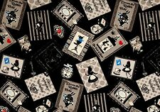 Fat Quarter Alice In Wonderland Black Toss Cotton Linen Quilting Fabric Lecien