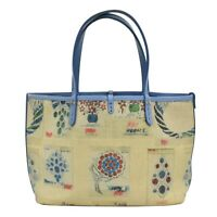 BVLGARI Coated Canvas Shoulder Tote Hand Bag Jewelry Pattern Beige Blue Italy