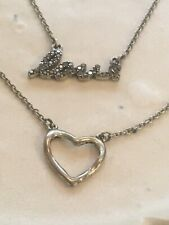 Love Heart Double Chain Necklace, Sterling Silver, Adjustible, Sweetheart Gift