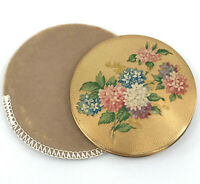 Ladies Powder Compact UK Floral Decor UNused 1950s Puff Sifter Sleeve Box Vtg