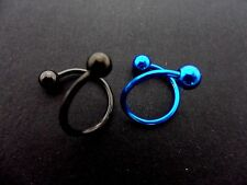 TWO 2X  STAINLESS STEEL TWISTED BALL END  LIP EYEBROW NOSE RING HOOP. BLACK/BLUE