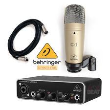 Behringer C-1 Microphone + UMC22 Audio Interface Audiophile + XLR Cable 5 ft