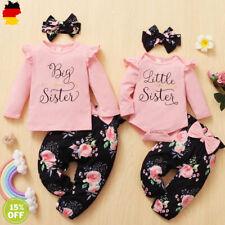 Neugeborene Baby Mädchen Rüschen Strampler Blumenhose Stirnband Outfits Kleidung