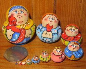 Russian nesting dolls Matryoshka MINIATURE 10 Babushka & Horse tiny LATISHEVA