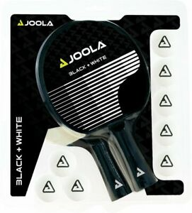 JOOLA Tischtennisschläger Set BLACK+WHITE   2 Tischtennisschläger 8 TT-Bälle
