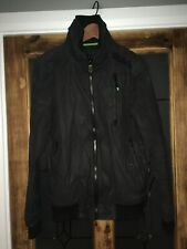 Superdry Men's Black Green Moody Norse Bomber Jacket Coat Small