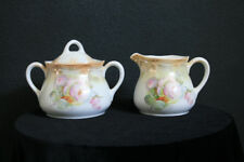 P. K. Silesia Pink Roses Covered Sugar Bowl & Creamer Set Tan Beaded