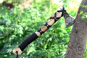 Custom Hand Made Carbon Steel Viking Axe with Leather Sheath, Father Day Gift