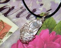 STUNNING HAND-CRAFTED SILVER-WIRE-WRAPPED HOWLITE PENDANT  2 INCHES