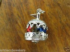 Vintage silver VICTORIAN STYLE CAROUSEL MERRY GO ROUND MOVABLE charm MOVES LAST