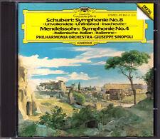 SINOPOLI: SCHUBERT Symphony No. 8 unfinished Mendelssohn 4 Italian DG CD Giuseppe