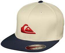Quiksilver Stuckles Flexfit Hat (Birch White/Navy/Red) - Small/Medium