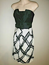 New WHITE HOUSE BLACK MARKET Strapless Black & White Belted SILK Dress - Size 4