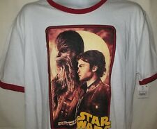 T Shirt XL Star Wars White Red Chewbacca Athletic Fit Tee Crew Neck Mens M107
