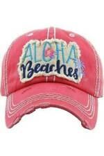 Womens ALOHA BEACHES Vintage Coral Distressed Baseball Hat Adjustable Back NWT
