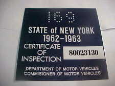 new york 1962-63 inspection sticker windshild