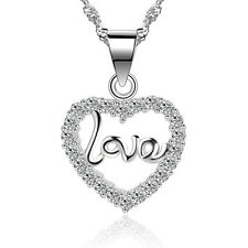 """Women Sterling Silver Love Heart Crystal CZ Pendant Necklace 18"""" Chain Gift Box"""