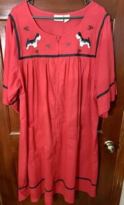 Vermont Country Store Zip Front Cotton Nightgown/Housedress Scottie Dogs 2X