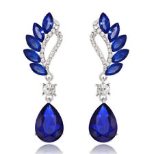Silver Royal Blue Luxury Peacock Feathers Party Long Drop Stud Earrings E1329