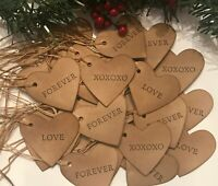 """30 Heart 1-3/4"""" Valentines Words Coffee Stained Primitive Gift Hang Tags lot"""