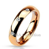 FAMA 4mm Stainless Steel Rose Gold IP 3CZ Set Classic Dome Wedding Ring Size 5-8