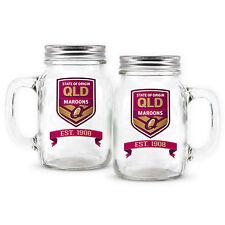 XXXX State of Origin QLD Queensland Maroons DRINKING GLASS MASON JAR Man Cave