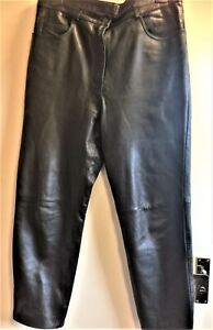 Ladies Black Real Leather Trousers size 16