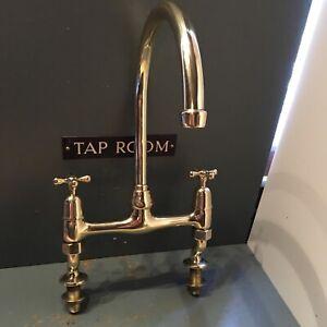 Traditional Antique Brass Kitchen Taps - Ideal Belfast Butler Sink R32