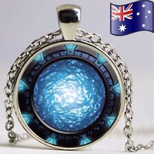 Stargate Atlantis Blue Portal Glass Pendant Cabochon Necklace Jewellery Gift