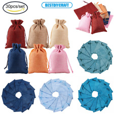 30Pcs/Set Burlap Packing Pouches Drawstring Bags for Wedding Party Gift, 14x10cm