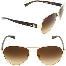 Coach HC 7063 9262/13 Pilot Sunglasses Light Gold Tortoise/Brown Gradient Lens