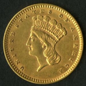 US Gold Coin 1857 $1 Indian Princess NO RESERVE!