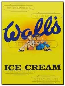 Walls Ice Cream - Vintage/Retro Metal Wall Sign Advert print - Wall's Ice Cream