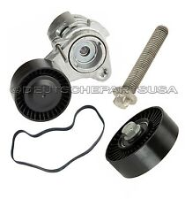 Drive Belt + Tensioner + Install Bolt + Idler Pulley for BMW E60 E90 E91 SET 4